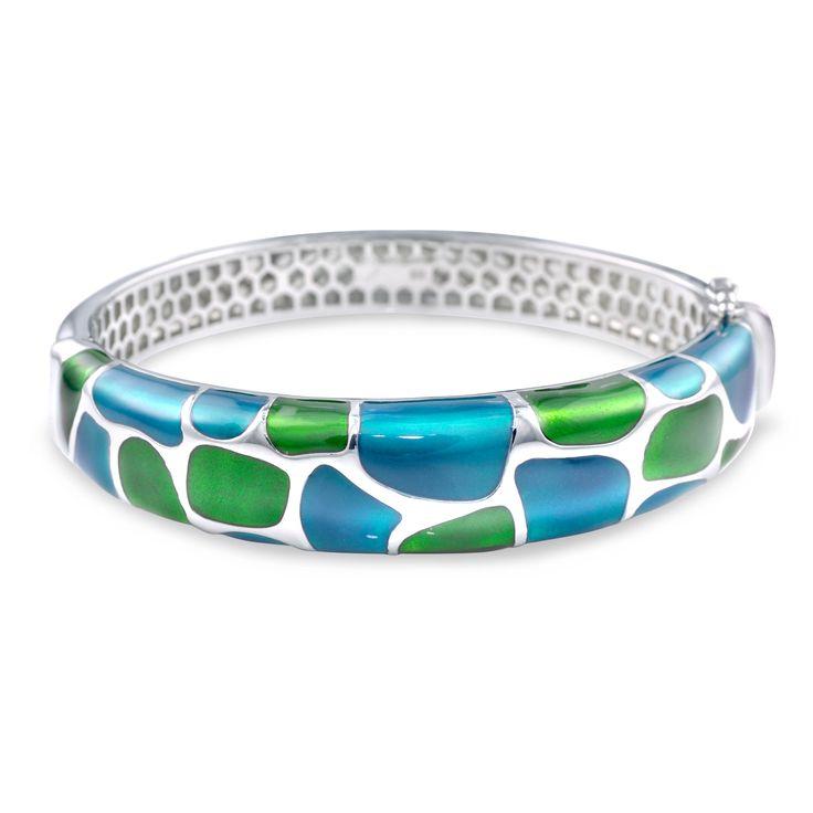 Enamel Bangle Sterling Silver SELECT OPTIONS: Sterling Silver Price: $540.00 #Moimoifinejewellery #Green #enamel #WhiteTopaz #Gift #Love #Bangle #Miabelle