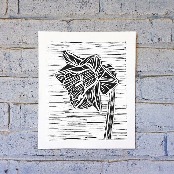 Set Forth Studio - Daffodil Linocut print, pressed on bright white specialty paper.  Details - 29cm x 24cm - Ships in a cello bag - Printed on acid-free paper for archival