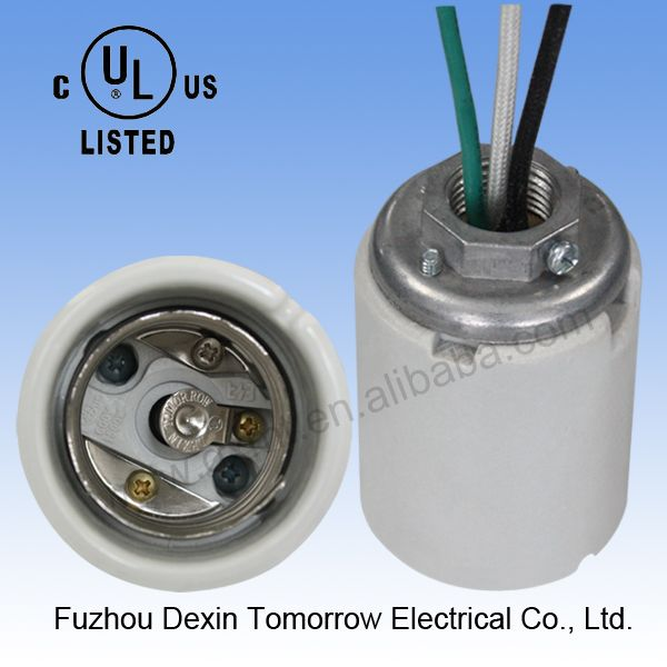 glazed with three cap) UL+CUL edison screw ceramic light socket  sc 1 st  Pinterest : light socket wiring - yogabreezes.com