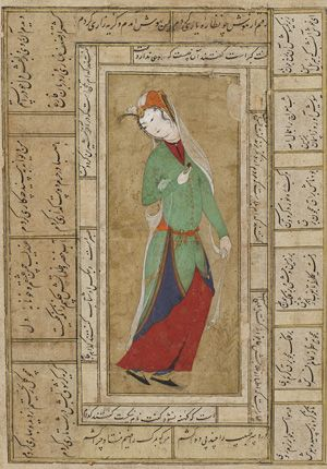 Woman in a green coat 1590s Safavid period  Opaque watercolor and gold on paper H: 20.0 W: 14.1 cm  Iran  Purchase F1935.25  Freer-Sackler   The Smithsonian's Museums of Asian Art