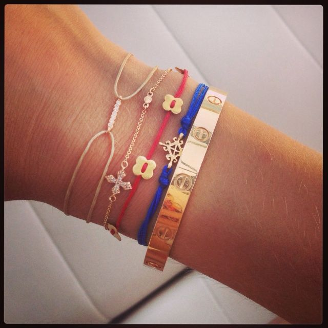 One Cartier and four Apriati bracelets