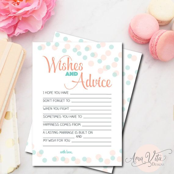 wedding wishes for bride bridal shower wishes and advice for the bride cards coral and mint bridal shower decor bridal shower games in 2018 ama