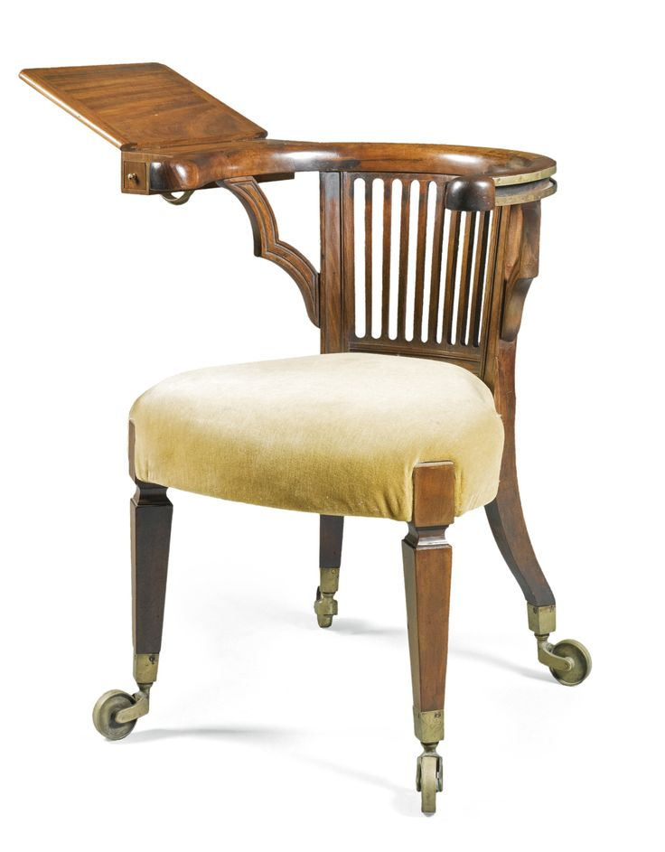 manner of morgan and saunders 19th century reading armchair mahogany and brass with an
