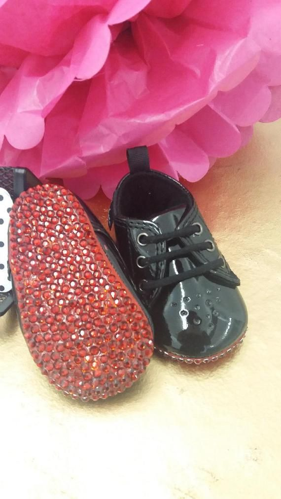 Red baby, Baby crib shoes, Bling baby shoes