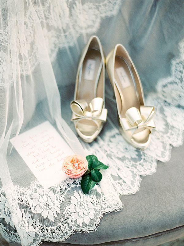 Gold Bow Valentino Wedding Shoes | Melanie Nedelko Fine Art Film Photography | Crimson and Gold Fall Foliage Wedding