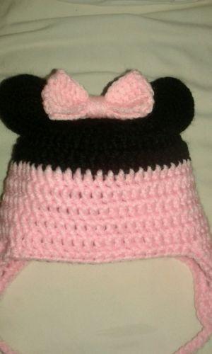 Cappellino-con-paraorecchie-Minnie-Disney-all-039-uncinetto-topolina-bimba-3-6-mesi