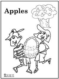children picking apples coloring pages - photo#16