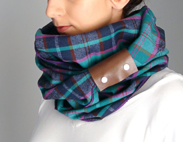 Infinity scarf with vegan leather cuff - green purple, blue plaid & brown cuff- FOR SALE - 32.00€ - Click here to buy: clothbot.gr - clothbotshop.etsy... - Fall Winter 2015 - scarves, accessories, trends, christmas gifts, holidays presents, unisex