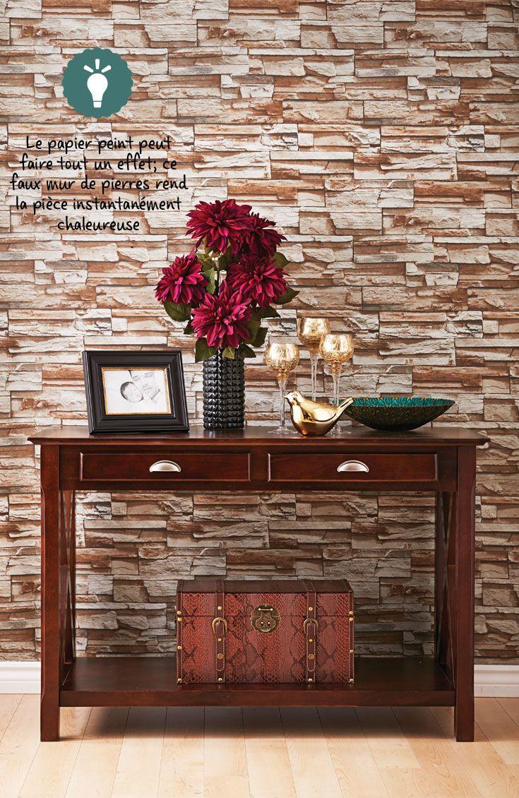 Papier peint imitation brique rouge fashion designs - Peinture effet brique ...