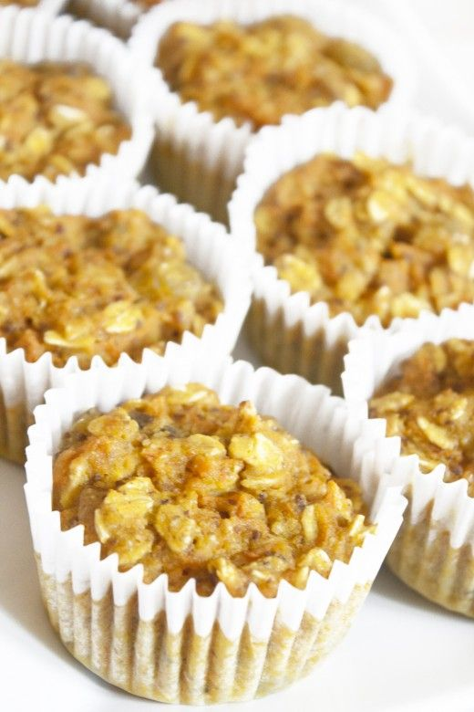 Sunburst Muffins  (Makes 12 muffins)    1 cup whole-wheat pastry flour  1/4 cup almond flour  1 cup rolled oats  1 cup finely grated carrots  3/4 cup orange juice  1/4 cup unsweetened applesauce  1/4 cup honey  1/3 cup golden raisins  1 tsp baking powder  1/2 tsp salt  1/2 tsp turmeric  2 Tbsp ground flaxseed + 6 tbsp water #health #food #recipe