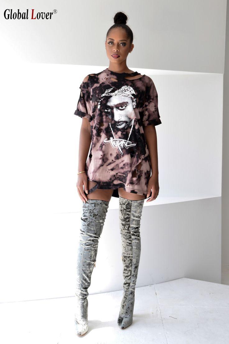 ==> [Free Shipping] Buy Best Fashion Punk Rock O-Neck Print T-Shirt Female Short Sleeve Women Shirt 2016 Harajuku Vintage Hole Shirt Women'S Tops T Shirts Online with LOWEST Price | 32748695236