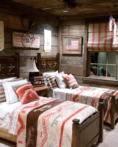 eclectic kids rustic boy's boy teen room bedroom cabin lodge western cowboy plank paneled striped shades indian blanket twin beds