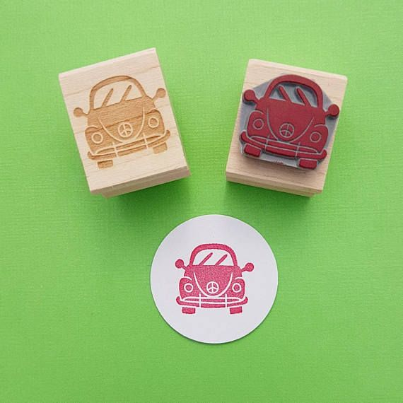 Car Rubber Stamp  Peace Bug Rubber Stamp by Skull and Cross Buns