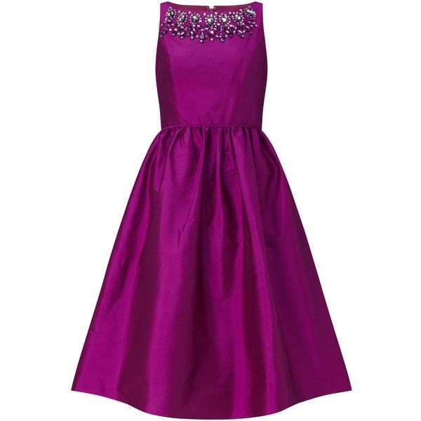 Adrianna Papell Sleeveless Beaded Taffeta Party Dress, Berry ($290) ❤ liked on Polyvore featuring dresses, purple cocktail dress, sleeve cocktail dress, fit and flare cocktail dress, long-sleeve mini dress and evening dresses