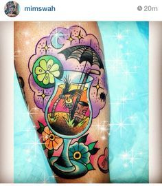Tropical fruity umbrella tiki drink tattoo | tattoo inspirations ...