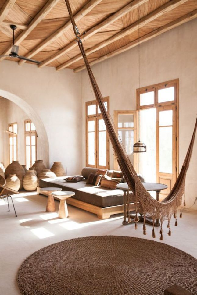 [ Neutral decoration with a hammock in the living room #decor #hammock]