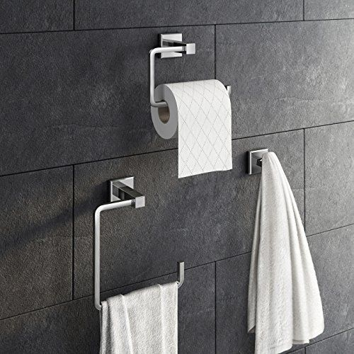 3 Piece Bathroom Accessory Set Towel Ring Toilet Roll Holder + Robe Hook Kit