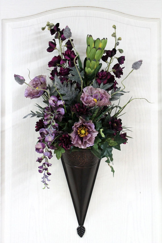 238 best Hanging Baskets and Wall Pockets images on ... on Wall Sconce Floral Arrangements Arrangement id=87745