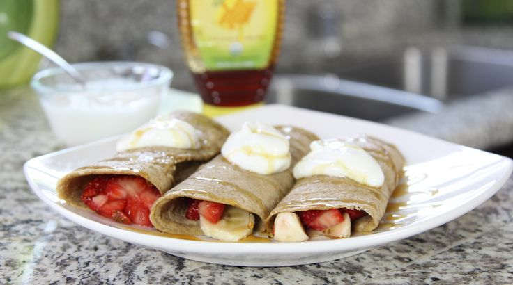 Healthy Banana Berry Crepes.. all three is 250 cals :) plus it gives awesome energy for the day!