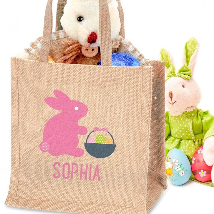 28 best jute bags images on pinterest jute bags jute shopping personalised easter jute bag for girls negle Images