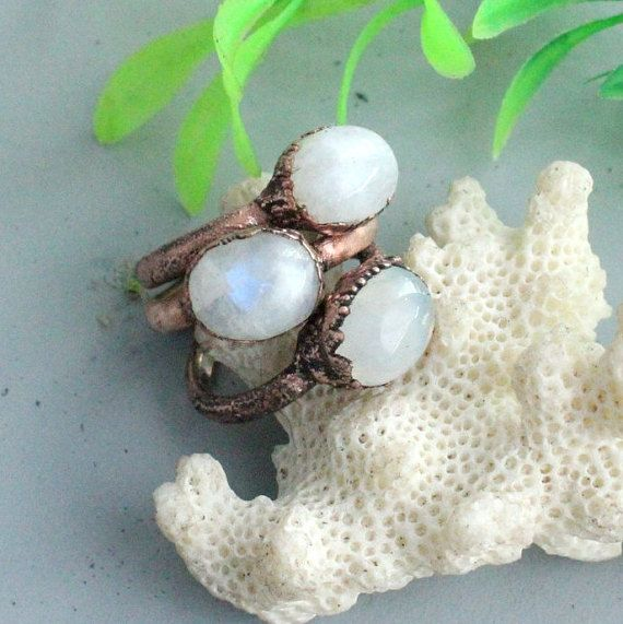 Moonstone ring boho rings statement ring electroformed