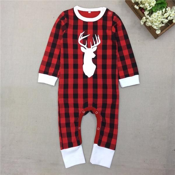 822343adc Red and black plaid Christmas Pj s Pajamas with deer head