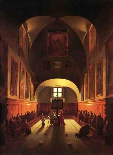 The Interior of the Capuchin Chapel In the Piazza Barberini (after Francois Marius Granet) - Thomas Sully