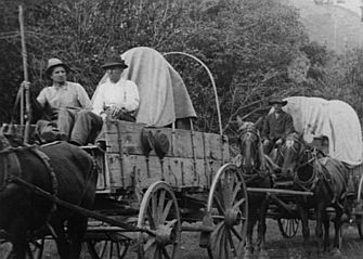 In July 1847, Mormon pioneers came off Big Mountain into the valley of the Great Salt Lake.