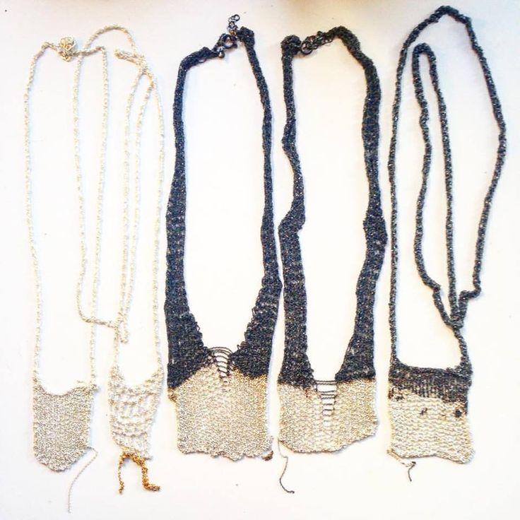 crochet silver chain necklaces.  Katia Alpha jewelry.