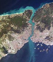 Bosporus from space (pink areas are Istanbul (Constantinople)) - look how narrow the gap is - as narrow as 1500 feet in places - Darius I invaded Europe over a pontoon bridge over this strait - Xerxes used the wider (and calmer) Hellespont to the south