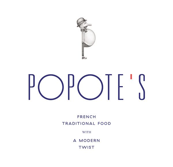 "#identity #popotes #typography This was an identity project for a restaurant in Brooklyn. I thought the typeface used was pretty cool because the ""o"" was very similar to the belly of the man/logo. The fonts used in this were CHOUX FARCI & PATRANQUE. Popote's on Behance"