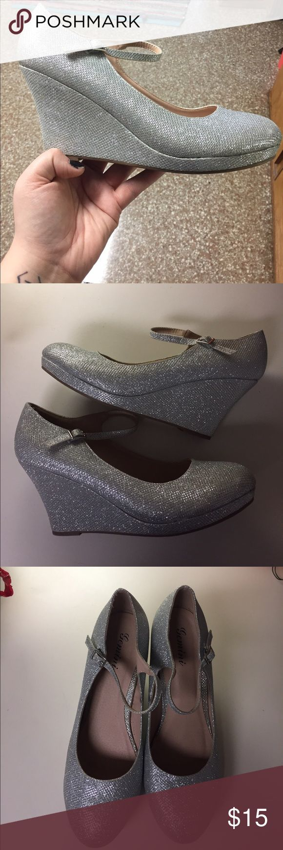 Sliver Maryjane Wedges Silver (10) Mary Jane wedges with ankle strap. Bought for prom and worn once. Very comfortable and easy to walk in. Shoes Heels