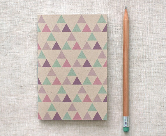 Eco Friendly Mini Journal ~ Purple, Green, Pink Triangles