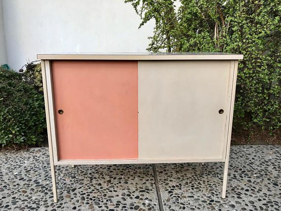 MID CENTURY MODERN White and Pink Storage Cabinet Los