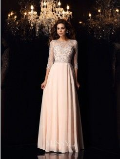 A-Line/Princess Scoop Chiffon 3/4 Sleeves Beading Floor-Length Dresses