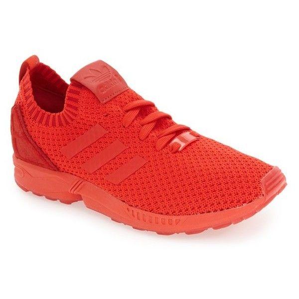 Men's Adidas 'Zx Flux Primeknit' Sneaker (250 BRL) ❤ liked on Polyvore featuring men's fashion, men's shoes, men's sneakers, red, mens red shoes, mens sneakers, mens red sneakers, adidas mens shoes and adidas mens sneakers