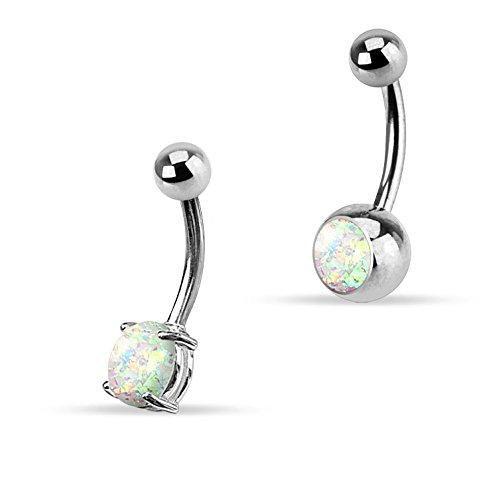 Belly Button Rings Clear White Opal Glitter 2 Pieces Piercing Jewelry Set
