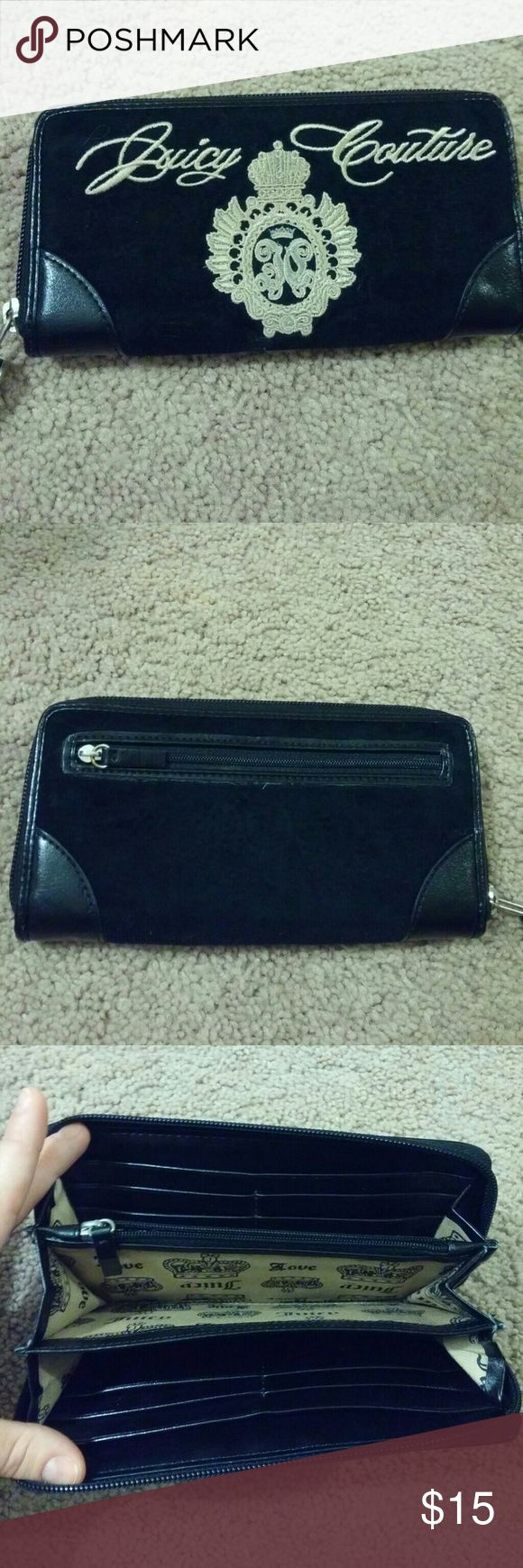 Juicy Couture Wallet Black velour zip around wallet. Multiple card slots and pockets within. Purchased from Nordstroms. Used a handful of times. Juicy Couture Accessories