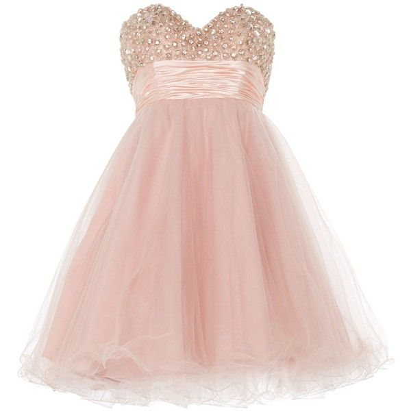 ANOUSHKA G Ella luxurious tulle prom dress ($155) ❤ liked on Polyvore featuring dresses, pink, short dress, vestidos, sale, sweetheart neckline prom dress, pink tulle dress, prom dresses, short dresses and pink dress