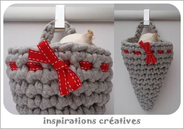 Love this cone shaped hanging basket. Link to english tutorial on her blog