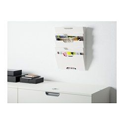 In/out box labeled *to do, shred, file, receipts, etc- KVISSLE magazine rack $19.99 - IKEA