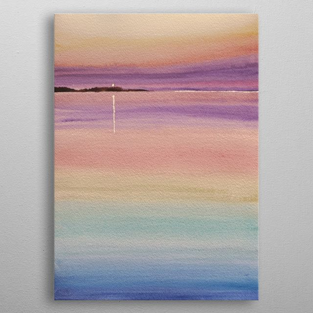 Sherbet Sunset Watercolor Nature Poster Print Metal Posters In