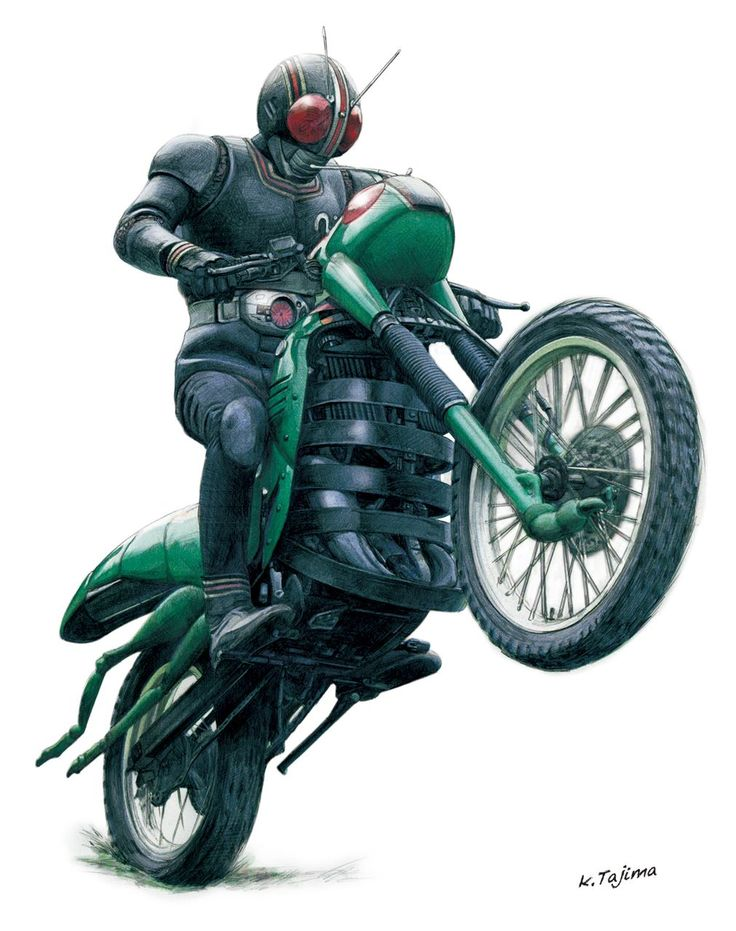 Masked Rider popping a wheelie on his grasshopper motorcycle