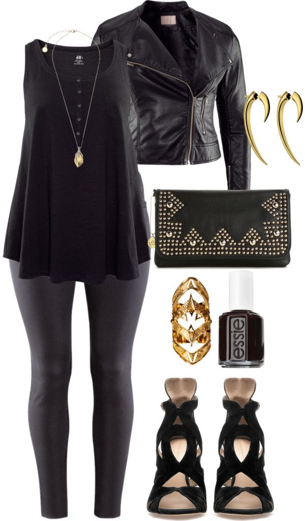 """Just add some green and it'd be a great Loki-inspired costume! """"Black & Gold - Plus Size"""" by alexawebb ❤ liked on Polyvore"""