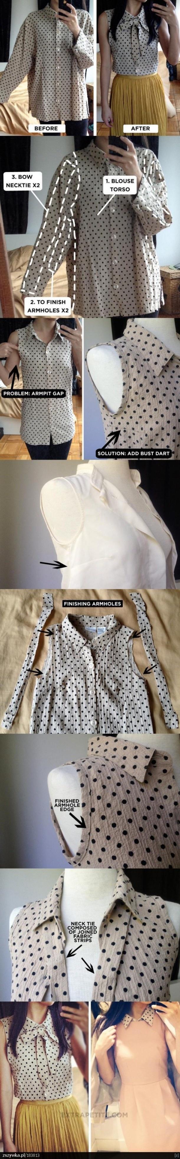 Van een te grote blouse naar een mooie (mouwloze) blouse Door Demelzaa
