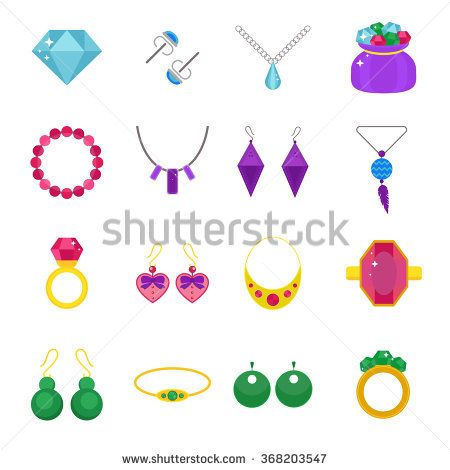 Set of jewelry vector flat icons. Gold precious accessorize. Jewelry sign vector illustration icons isolated on white background. Jewelry icons set