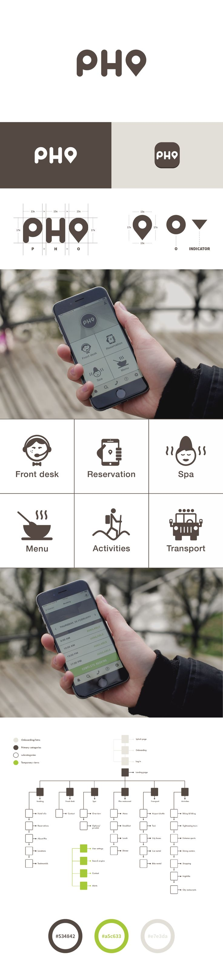 The app that gives you access to all hotel services and amenities. No more pen and paper. Booking made easy.  Pho Hotel UX/UI - APP Prototyping, wireframing, research, contextual inquiry, user personas, questionnaires, user testing, scenarios, graphic design, Identity and branding.