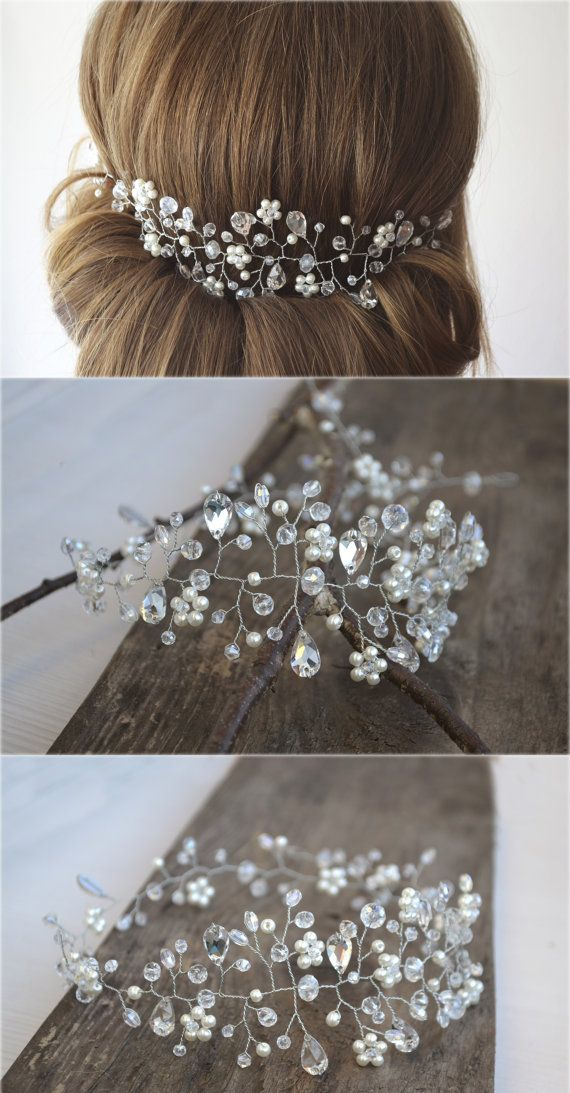 Bridal Pearl and Crystal Hair Vine Crown Wedding by NovaHandmade