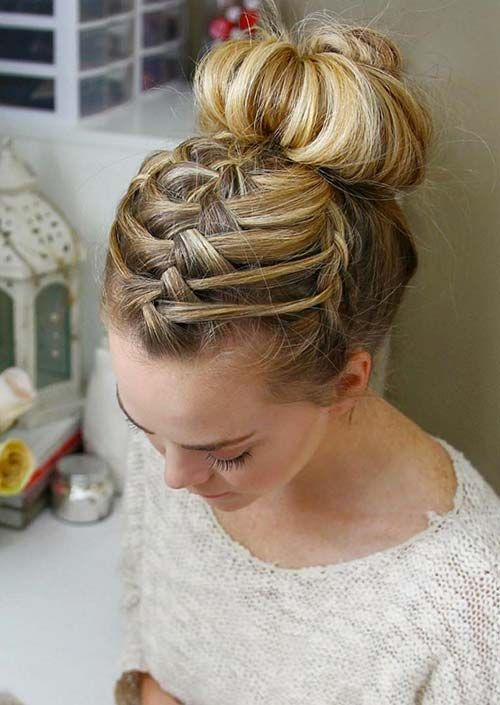Learn to make thumbnail style for work/bangs in the way  100 Trendy Long Hairstyles for Women: Triple Braid French Bun