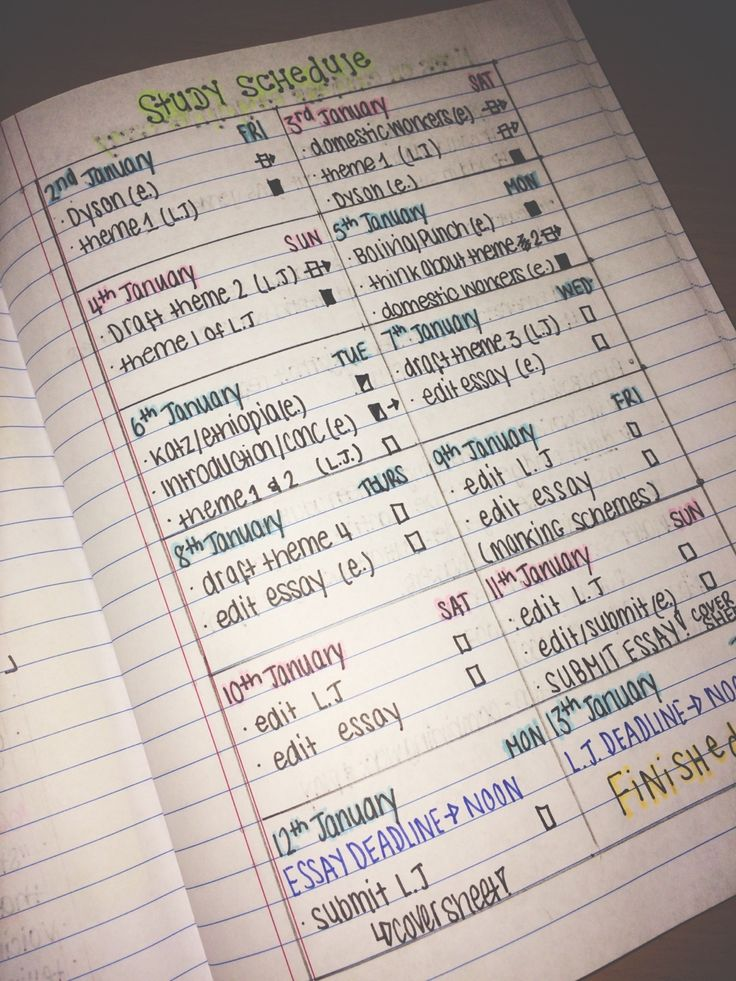 study schedule.  I like to have one every week.  Good idea to incorporate a page spread into a DIY planner ||| student, school, agenda, university, time management, organisation